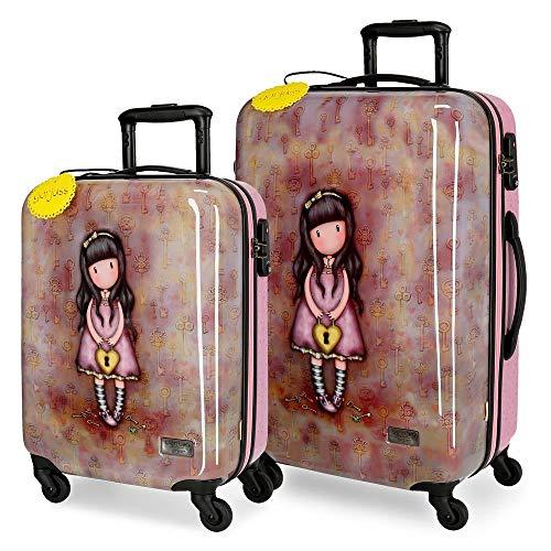 Santoro Gorjuss The Secret Set valigie Multicolore 55/67 cms Rigida ABS Chiusura TSA 97L 4 Ruote Bagaglio a mano