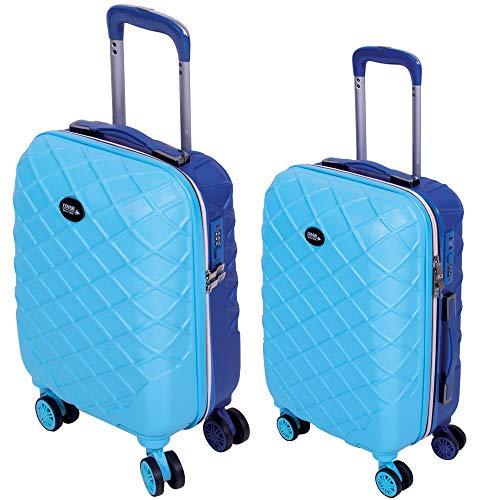 Set 2 Trolley Valigia + Bagaglio a Mano Coveri Londra Guscio Rigido In ABS 4 Ruote girevoli Manico teloscopico Regolabile Doppio Scompartimento Interno e Chiusura di Sicurezza con combinazione (Blu)