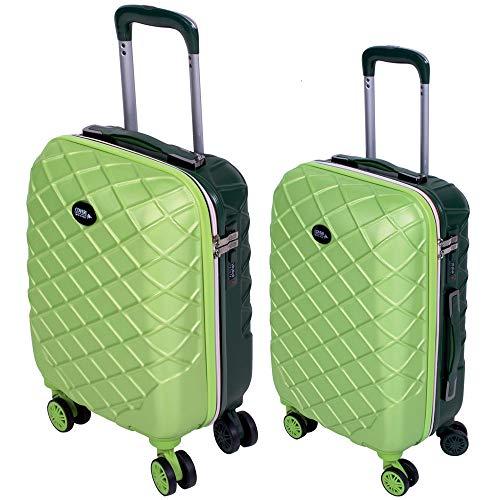 Set 2 Trolley Valigia + Bagaglio a Mano Coveri Londra Guscio Rigido In ABS 4 Ruote girevoli Manico teloscopico Regolabile Doppio Scompartimento Interno e Chiusura di Sicurezza con combinazione (Verde)