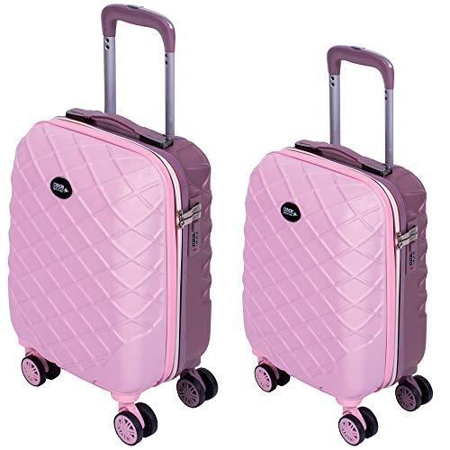 Set 2 Trolley Valigia + Bagaglio a Mano Coveri Londra Guscio Rigido In ABS 4 Ruote girevoli Manico teloscopico Regolabile Doppio Scompartimento Interno e Chiusura di Sicurezza con combinazione (Rosa)