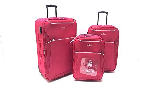 Set 3 Trolley Clacson Semirigidi 2 ruote Resistente Economico Espandibile con Trolley Bagaglio a Mano idoneo Ryanair cm.55x40x20 Set valige bagaglio cabina (Rosso)