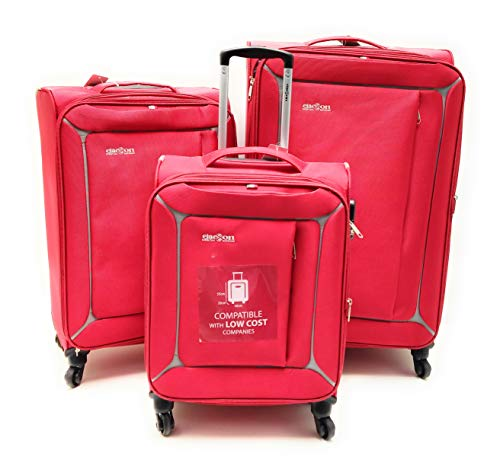 Set 3 Trolley Semirigido 4 Ruote Clacson Espandibili con Trolley Bagaglio a Mano Idoneo Ryanair (Rosso)