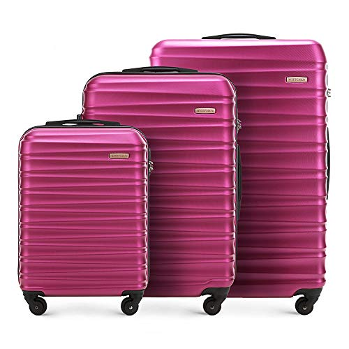 Set di valigie avvolgibili solido Wittchen Carrello a conchiglia rigida in ABS con serratura a 4 ruote Rosa