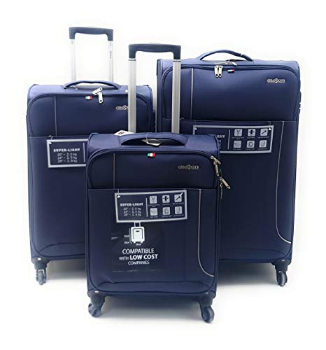 Set tre Trolley semirigido 4 ruote con Trolley bagaglio low cost a mano Easyjet Clacson (BLU)