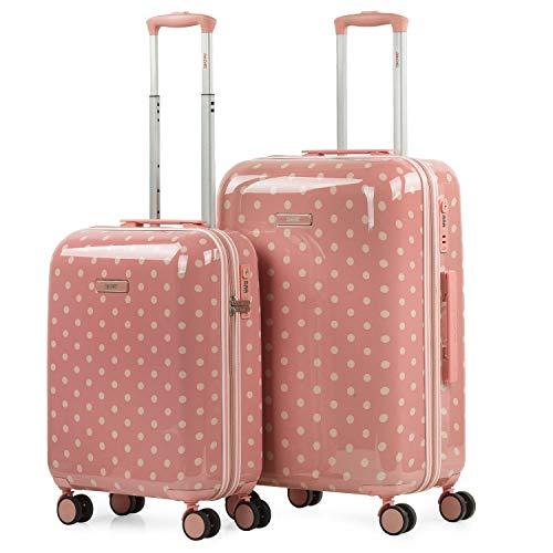 SKPAT - Set di 2 valigie rigide 4 ruote doppie. Policarbonato stampato. Lucchetto TSA. Bagaglio leggero. Piccola cabina omologato e medio 132300, Color Corallo