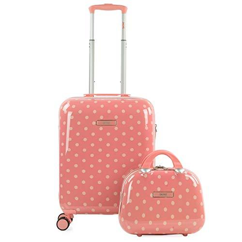 SKPAT - Set di valigia cabina e beauty case. Carrello 55 cm 4 ruote doppie. Lucchetto TSA. Leggero. Policarbonato stampato 132350B, Color Corallo