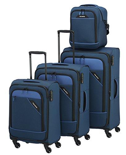 Travelite DERBY 4-tlg. Reisegepäckset, 4-Rad L/M erweiterbar/S, Bordtasche, Blau, 87540-20 Set di valigie, 77 cm, 230 liters, Blu (Blau)