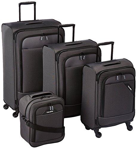 Travelite DERBY 4-tlg. Reisegepäckset, 4-Rad L/M erweiterbar/S, Bordtasche, Anthrazit, 87540-04 Set di valigie, 77 cm, 230 liters, Grigio (Anthrazit)