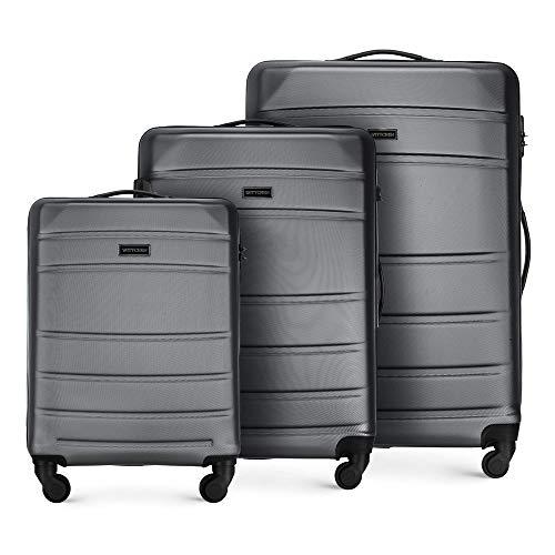WITTCHEN Valigetta robusta set 3 pezzi. Valigia trolley Valigia da viaggio di Set di valigie rigide in ABS Trolley 4 ruote con serratura a combinazione Grigio