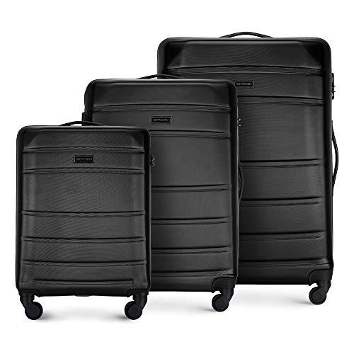 WITTCHEN Valigetta robusta set 3 pezzi. Valigia trolley Valigia da viaggio di Wittchen Set di valigie rigide in ABS Trolley 4 ruote con serratura a combinazione Nero