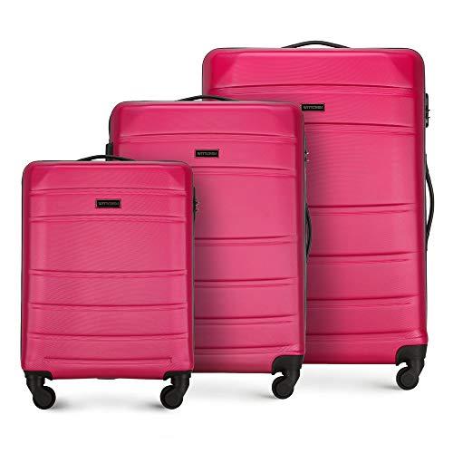 WITTCHEN Valigetta robusta set 3 pezzi. Valigia trolley Valigia da viaggio di Wittchen Set di valigie rigide in ABS Trolley 4 ruote con serratura a combinazione Rosa