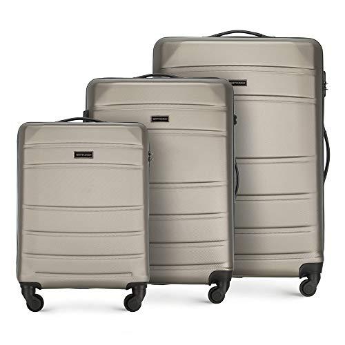 WITTCHEN Valigetta robusta set 3 pezzi. Valigia trolley Valigia da viaggio di Wittchen Set di valigie rigide in ABS Trolley 4 ruote con serratura a combinazione Champagne